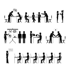 Set of business people silhouettes in meetings vector image