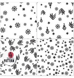 Set of simple Christmas patterns vector image