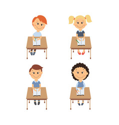 flat children sitting at desk set vector image vector image