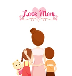 Mother Son And Daughter Hugging Together vector image vector image