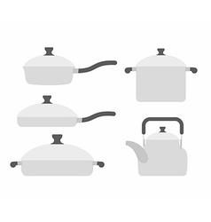 Set kitchen utensils frying pan and saucepan Tea vector image