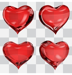 Set of transparent hearts vector image vector image