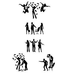 silhouettes of businesspeople in action vector image