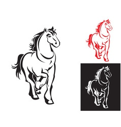 horses on white or black backgrounds vector image