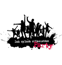 Ink splash party crowd silhouettes vector image