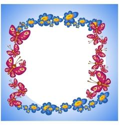 photo frame flower butterflie vector image