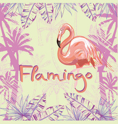 pink flamingo isolated on green background vector image vector image