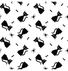 Seamless halloween pattern with black cats spiders vector image