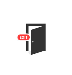 simple black exit door icon on white background vector image