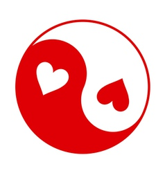 Yin-Yang symbol with hearts instead of dots vector image vector image