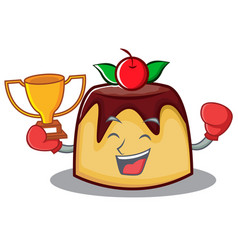 Boxing winner pudding character cartoon style vector
