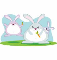 fat rabbit family vector image vector image