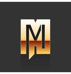 Gold Letter M Shape Logo Element vector image vector image