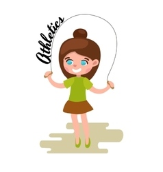 Little girl playing skipping rope white background vector image