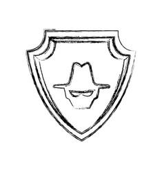 Malware spyware head shield crest vector