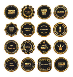 set of gold framed labels vector image