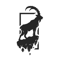 Silhouette of a mountain goat vector
