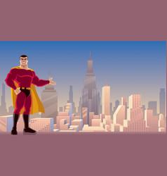 superhero presenting in city vector image