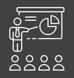 Training presentation line icon business vector