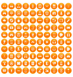 100 gadget icons set orange vector
