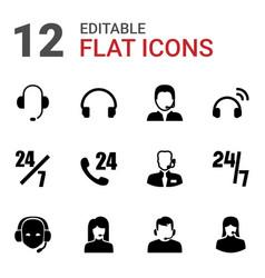 12 operator icons vector