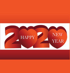 2020 happy new year banner heart vector image
