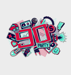 90s style party backgrounds vintage music posters vector image
