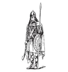 a frankish chief vintage engraving vector image