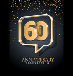 Anniversary 60 gold 3d numbers poster template vector