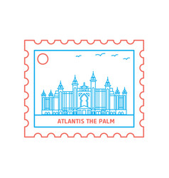 atlantis the palm postage stamp blue and red line vector image