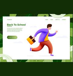 Back to school running boy vector