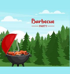barbecue party in forest flat vector image