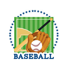 Baseball field game with professional equipment vector