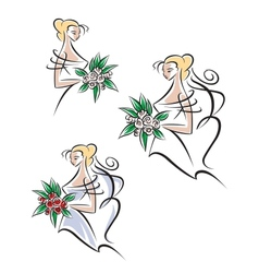 Beautiful and pretty bride vector image vector image