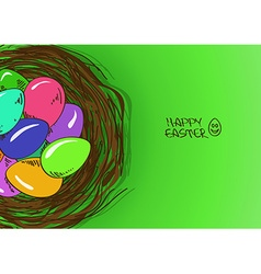 Bird nest with Easter eggs vector
