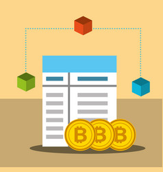 bitcoin trade business technology blockchain vector image