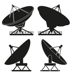 Black and white satellite antena silhouette set vector