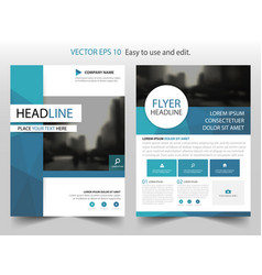 Blue circle polygonal annual report leaflet vector