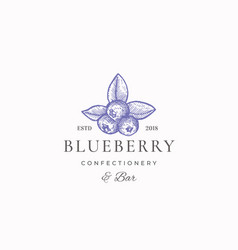 Blueberry confectionary abstract sign vector