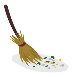 Broom cleaning waste or color vector
