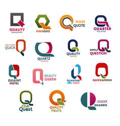 business company trend design letter q icons vector image