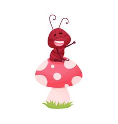 Cartoon ant character sitting on mushroom vector