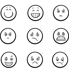 Cartoon emoticons set vector