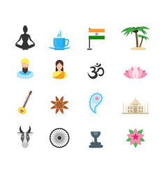 cartoon symbol of india color icons set vector image