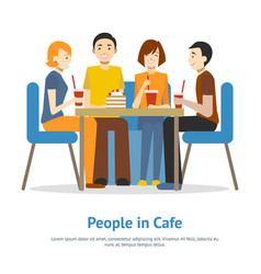 cartoon young people in cafe concept card poster vector image