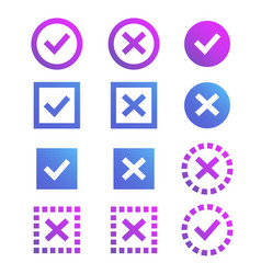 Check mark icon blue and purple marks and crosses vector