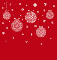 christmas balls hanging on red background vector image