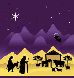 Christmas nativity mary and joseph 3 vector