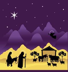 christmas nativity mary and joseph 3 vector image