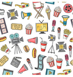 cinema doodle icons background or pattern vector image